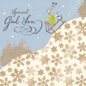 God Son Christmas Card with Gold Foiling, Contemporary Design and Red Envelope KIS34